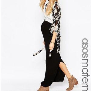ASOS Maternity Black Ribbed Maxi Skirt US Size 8
